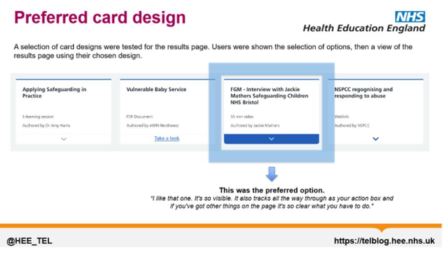 Learning Hub - Preferred Card Design